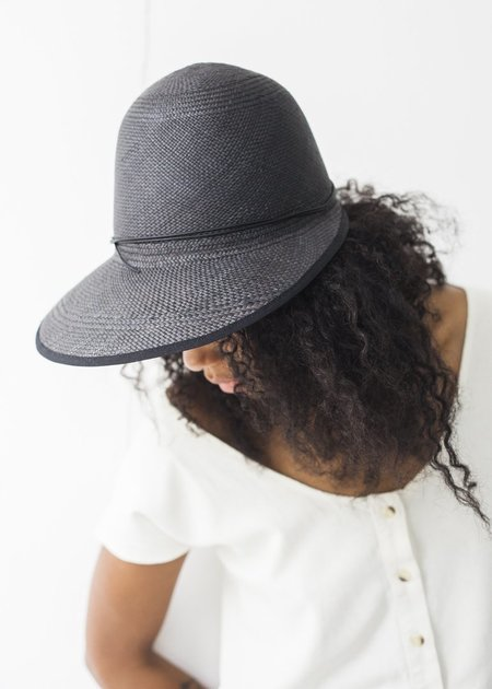 Brookes Boswell Millinery Duo Hat - Black Panama Straw