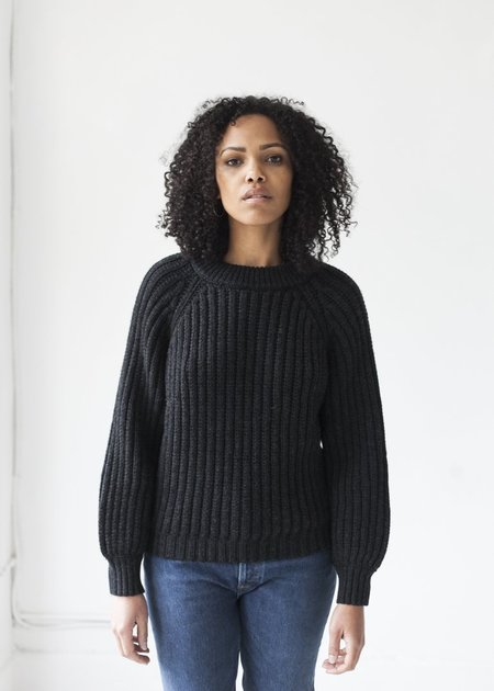 Micaela Greg Miter Rib Sweater - Faded Black