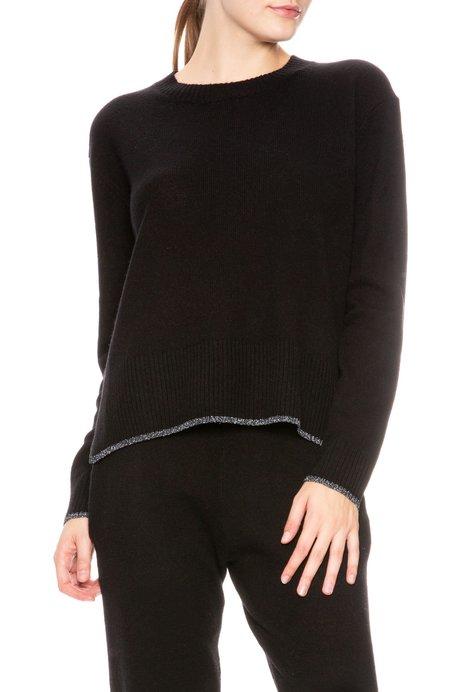 Morgan Lane Charlee Cashmere Sweater with Metallic Trim - Noir