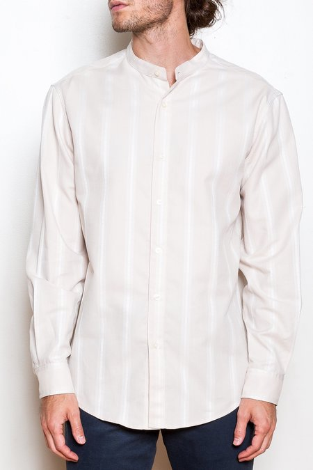 Krammer & Stoudt Cody Collarless Shirt - Ecru Stripe