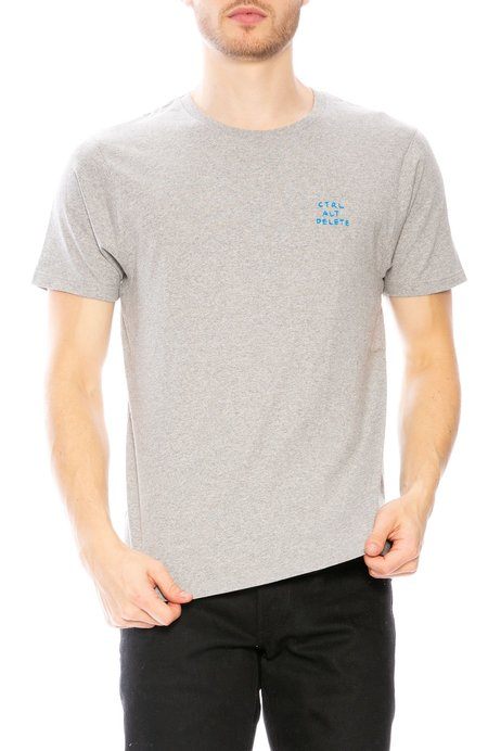 Yeah Right NYC Ctrl Alt Delete Embroidered T-Shirt - Grey/Bright Blue