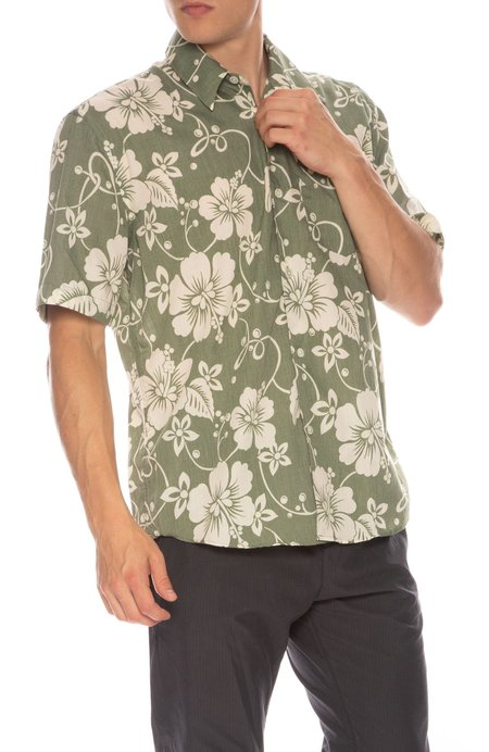 Our Legacy Hibiscus Print Initial Shirt - Green
