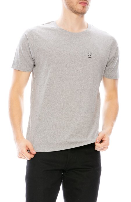 Yeah Right NYC I'm Not Ok Embroidered Tee - Grey/Black