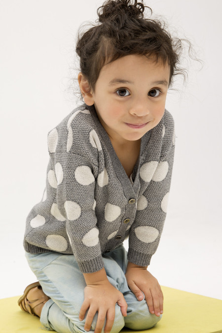 Kids' Micaela Greg Cloud Grey Dot Cardigan