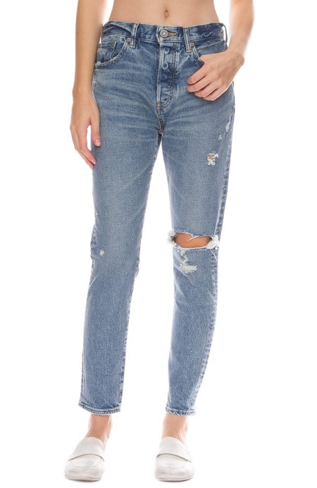 Moussy Isabel High-Rise Tapered Skinny Jeans - Blue