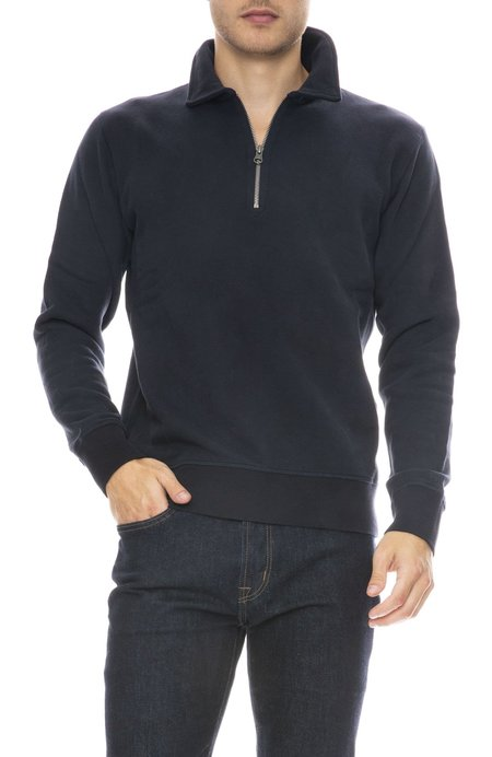 Hartford Knit Polo Zip Sweatshirt - Dark Navy