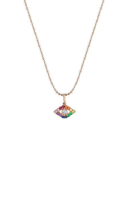 Sydney Evan Large Bezel Rainbow Evil Eye Necklace