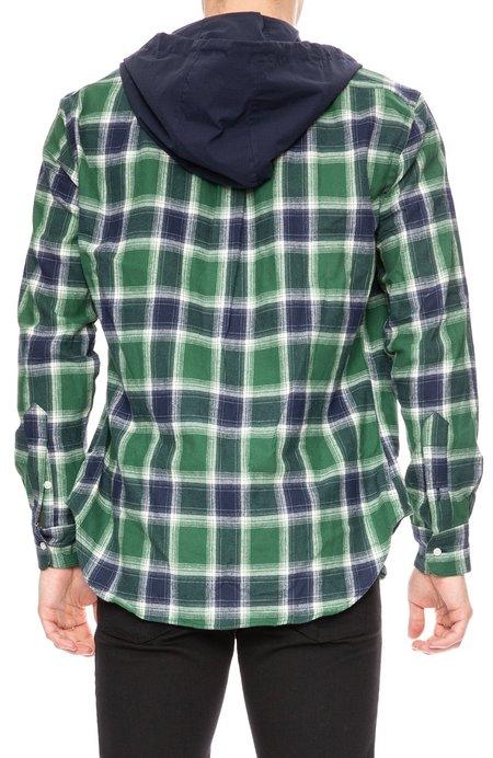 Gitman Bros. Plaid Shirt with Ripstop Hood - Navy/Green 99