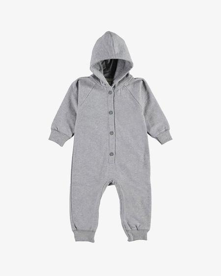 Kids Label Hooded Jumpsuit - Gray