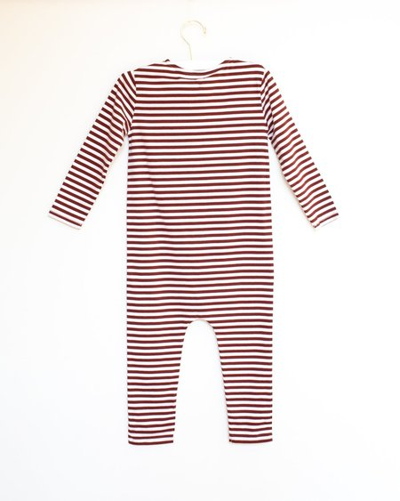Kids Gray Label Playsuit - Burgundy/White Stripe