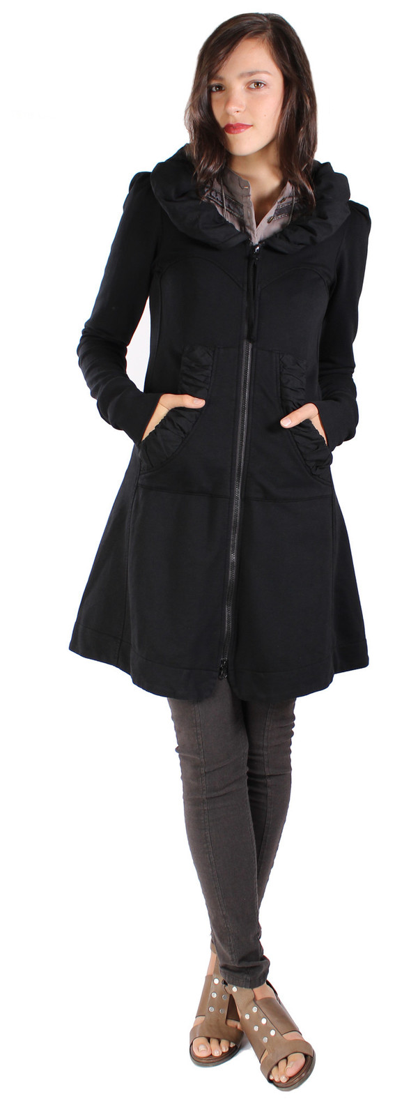 Prairie Underground Long Cloak Hoodie in Black