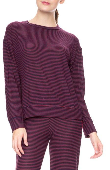 Sundry Striped Sweater Knit Pullover - Midnight/Wine Stripe