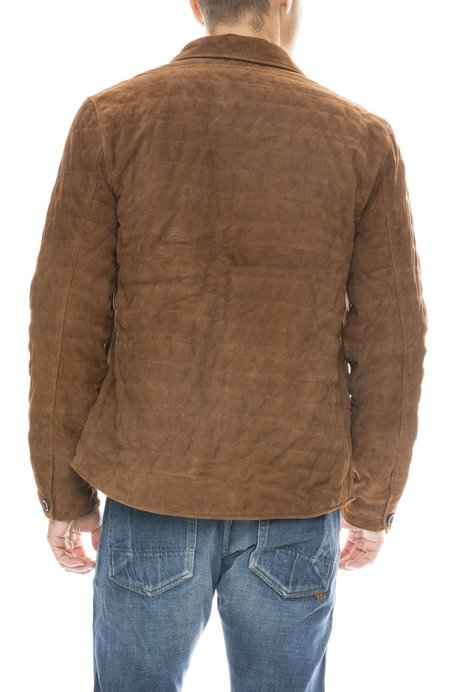 Billy Reid Suede Quilted Shirt - RUBBER