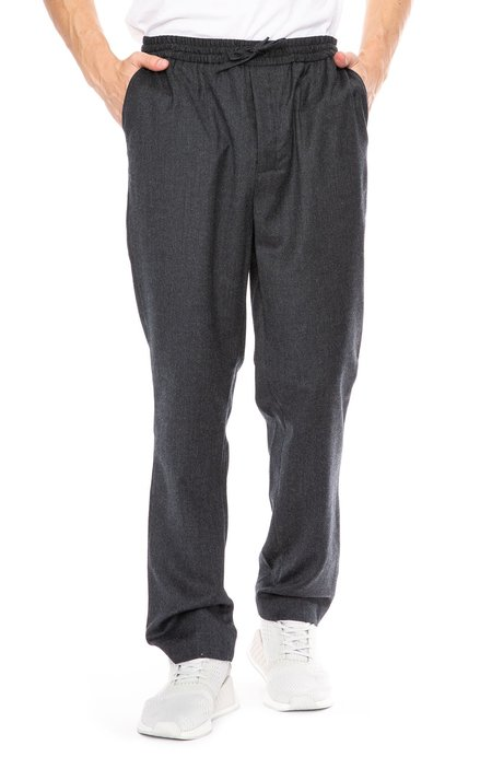 AMI Virgin Wool Elastic Waist Pants - Anthracite
