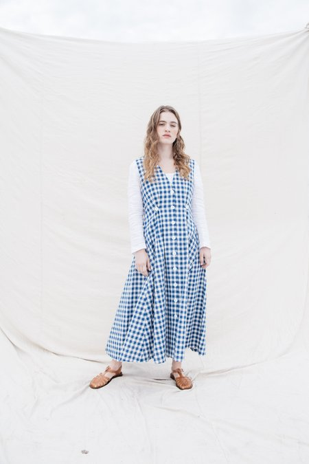 Nikki Chasin Sleeveless Cotton Baroness  Dress - Gingham