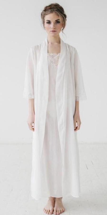 Salua Lingerie Italian Cotton Silk Long Robe