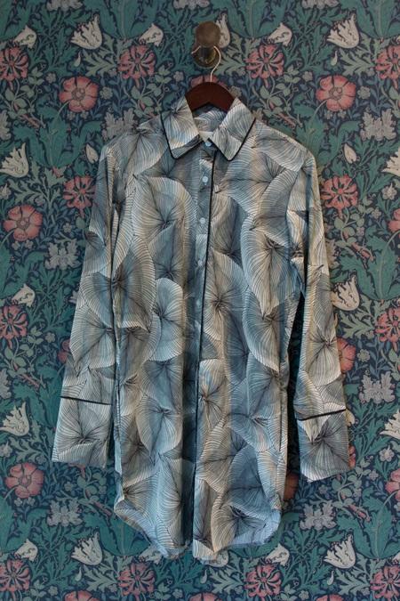 Maison Du Soir Sam Long Sleeve Sleep Shirt - LEAF PRINT