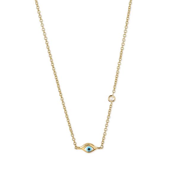 SYDNEY EVAN GOLD MINI ENAMEL EVIL EYE NECKLACE WITH BEZEL-SET DIAMOND