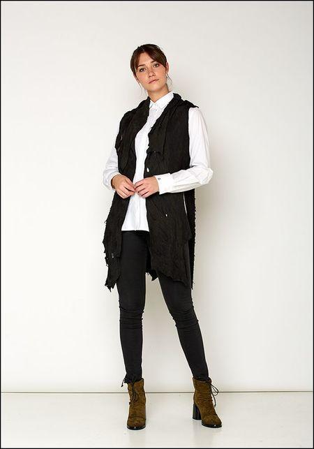 Claudio Cutuli Raw Edged Leather Vest - BLACK