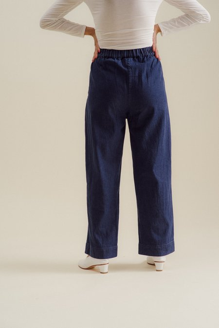 ALI GOLDEN STRAIGHT LEG PANT - BLUE COTTON DENIM