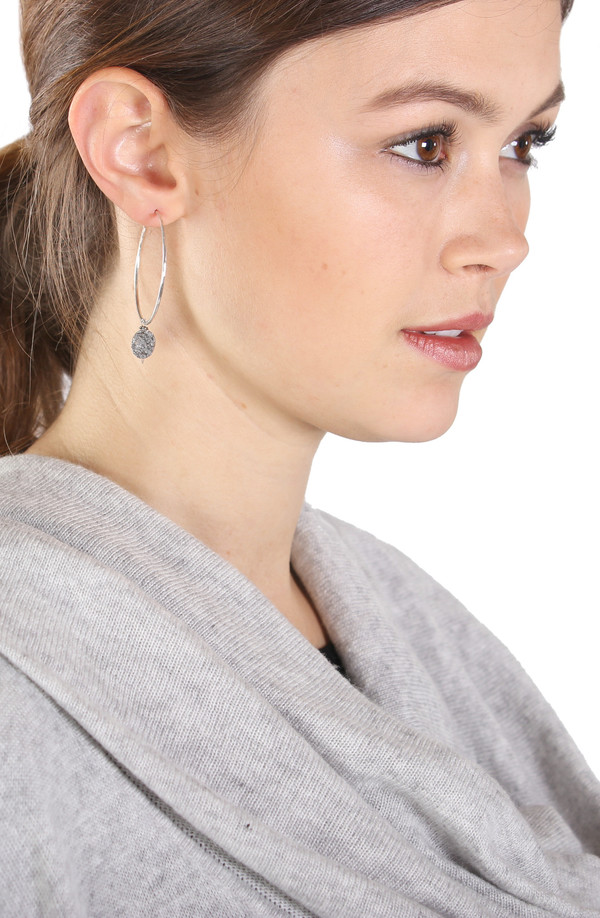 Sarah Dunn Silver Hoops with Druzy Drops