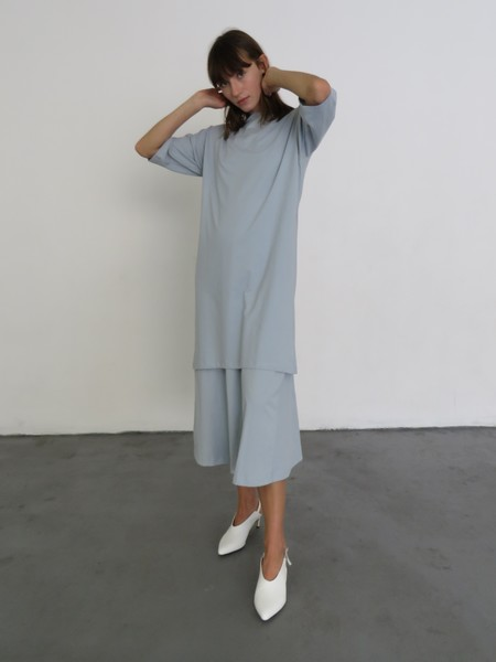 Kowtow Building Block Boat Neck Dress - Powder Blue
