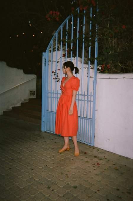 Lisa Says Gah Topanga Midi Dress - Tomato Linen