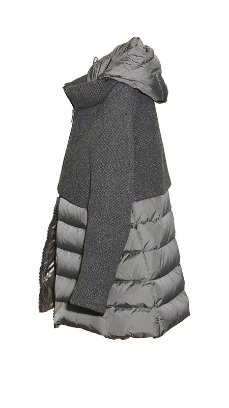 Herno Knit Panel Padded Coat with Removable Hood - Gray