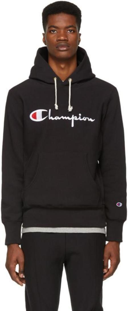 Champion Reverse Weave Script Hooded Sweatshirt - Black