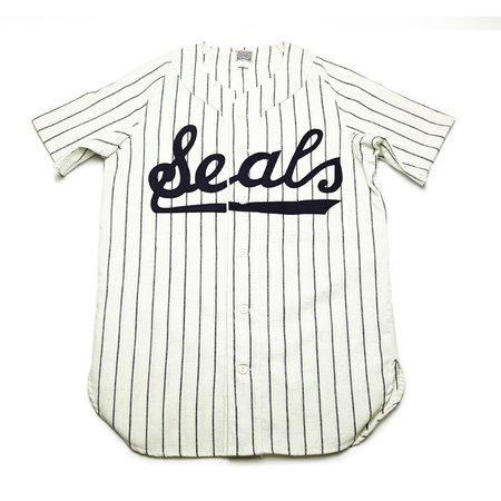 Ebbets Field Flannels San Francisco Seals 1955 Home Baseball Jersey - White/Navy Pinstripe