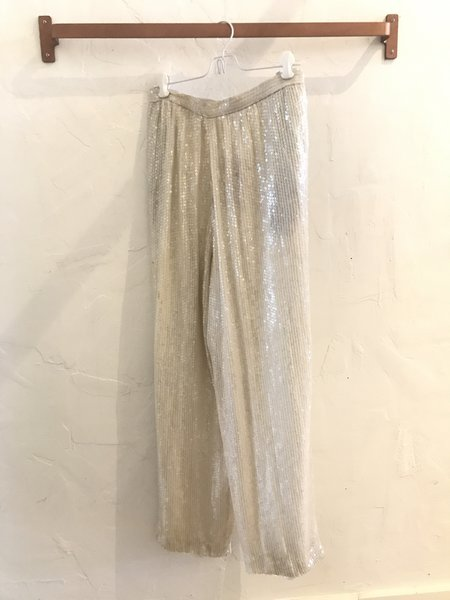Vintage Gingerly Witty Evening Pants - White Sequin