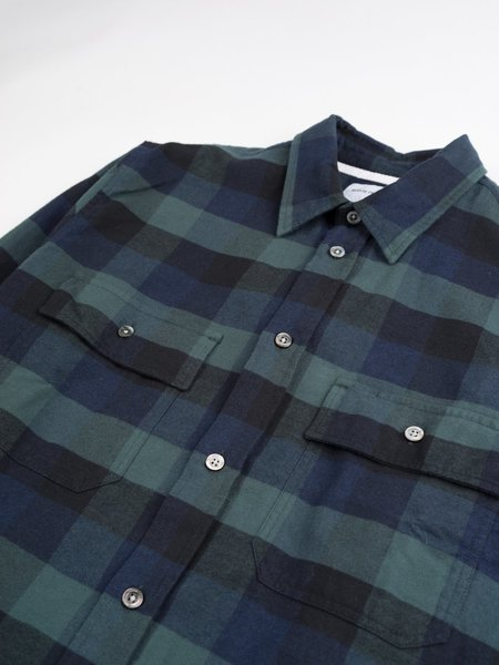 Norse Projects Villads Brushed Flannel Check Shirt - Dark Navy