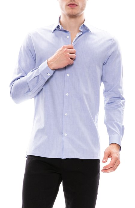 Editions M.R. Faux Plain Weave French Collar Shirt