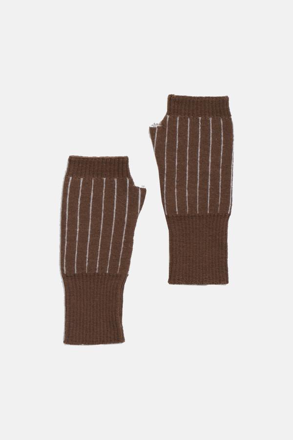 Micaela Greg Burnt sienna Pinstripe Fingerless Gloves