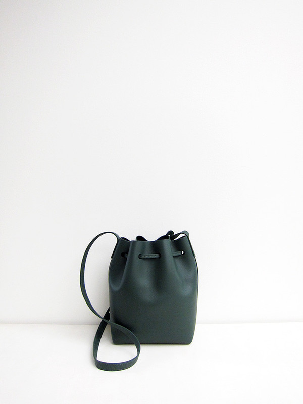 Mini Bucket Bag, Calf, Moss