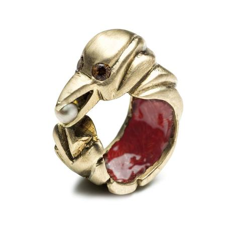 By Natalie Frigo Bird With Treasure Ring