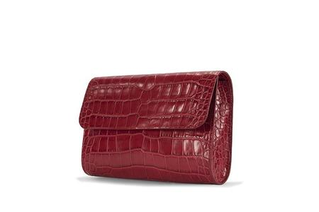 By Far Embossed Leather Crossover - Red Croco