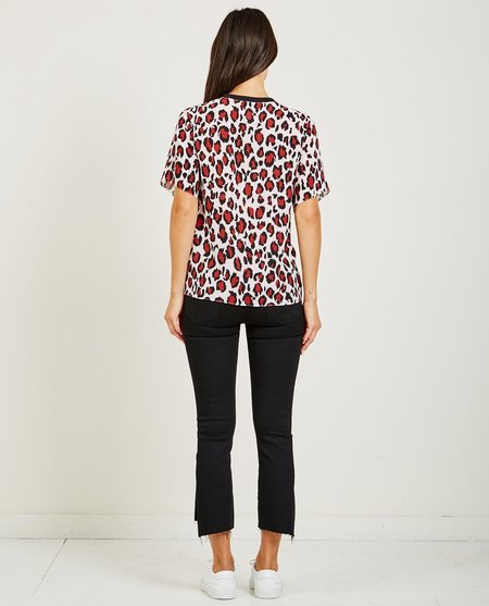 Kenzo LEOPARD CREPE GATHERED TOP - PASTEL