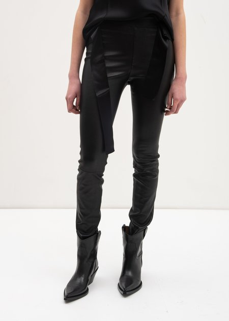 Helmut Lang Leather Stretch Leggings - Black