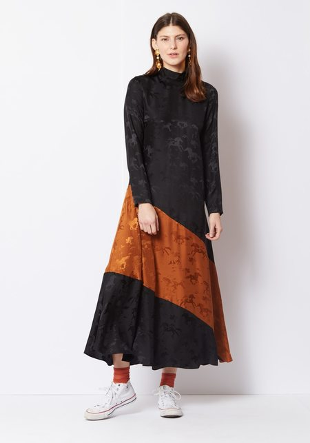 Ganni Silk Jacquard Horses Maxi Dress