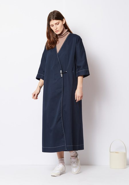 Ganni Cotton Stretch Chino Coat with Leather Button - Navy
