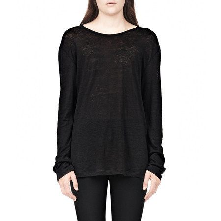 T By Alexander Wang CLASSIC LINEN LONG SLEEVE CREW NECK TEE