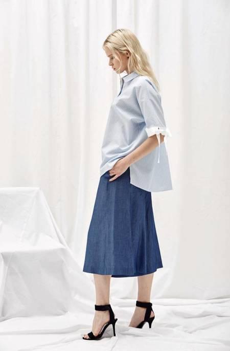 Alani the Grey Tied Sleeve Shirt - LIGHT BLUE