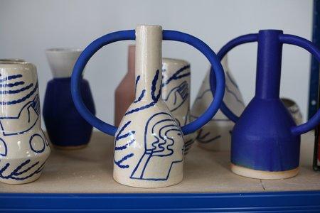 Sophie Alda Large Jug Earred Vase - Cream/Blue