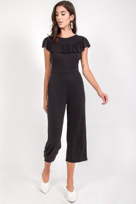 MoVint Scarlet Ruffle Jumpsuit - Charcoal suede