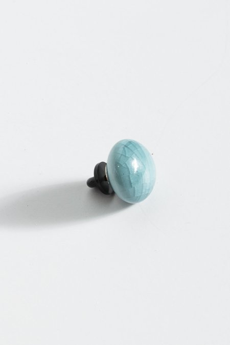 Monty J Ceramic Button Brooch - Blue