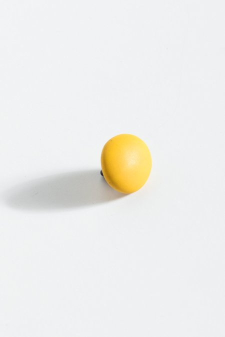 Monty J Ceramic Button Brooch - Yellow