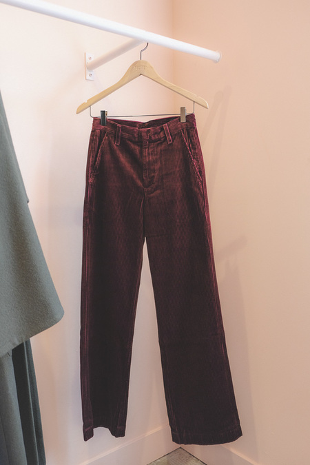 Goldsign Flat Front Corduroy Trousers - Burgundy