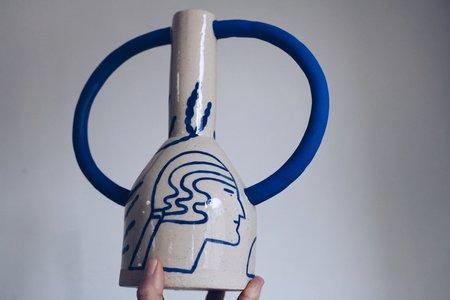 Sophie Alda Large Jug Eared Vase - cream/blue pattern