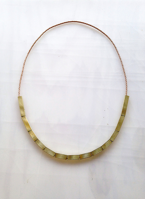 Sara Barner Leather and brass necklace